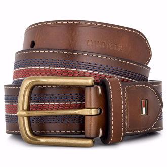 Hình ảnh củaDây nịt Tommy Hilfiger Men's Casual Belt w/ Centre Stripe Stitch - Tan/Navy/Red(Xách tay chính hãng)